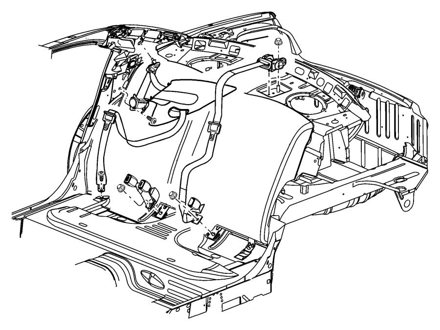 Chrysler Sebring Seat Belt Lap And Shoulder Belt  Center