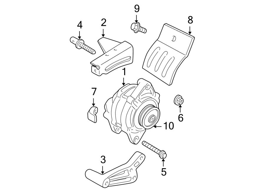 Dodge Neon Bolt  Mount  Bracket  Alternator  3 8 Liter  6 Cylinder  Lower  6 Cylinder